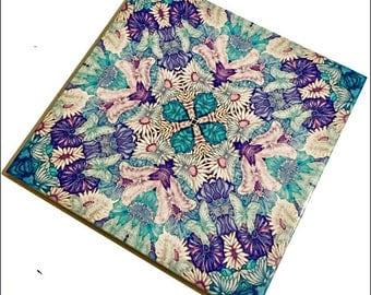 Butterfly Flowers Decorative Tile - Blue & Lilac Hand Painted Wall Tile - Butterflies Bathroom Tile - Floral Kitchen Tile - Bohemian Decor