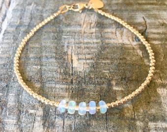 Genuine Opal Bracelet with Gold Filled Beads/Stacking Bracelet