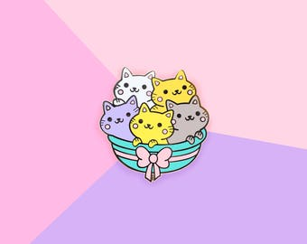 Basket of Kittens - Hard Enamel Gold Lapel Pin Kawaii Cats