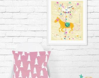 Nursery Wall Art, Nursery Decor, Illustration, Typography Print, Nursery Print, Horse Print, Wall Decor, Quote Prints, Childrens Art