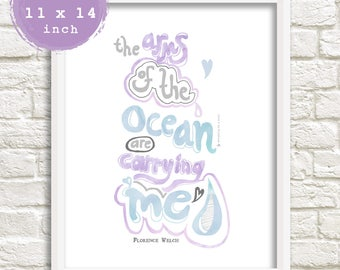 A3 Ocean Print, Surf Art, Lyrics Print, Florence and Machine, Never Let Me Go, Illustration, Watercolor Print, Typography Poster, Wall Decor