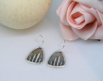 Silver Earrings, Lined dangle earrings, Dangly earrings, line, Stripey drop earrings, boho, graphic, Gifts for her, Christmas, Triangle