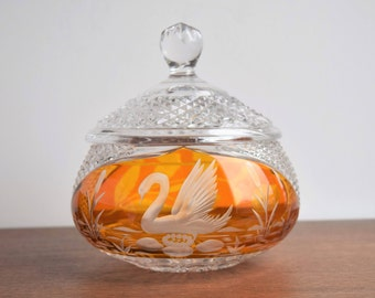 Vintage Clear and Amber Glass Candy Dish with Lid/Home Glass Decor