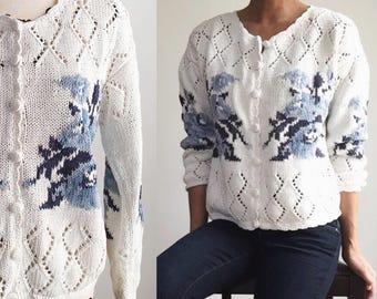 Vintage Cardigan, Floral Cardigan, Crochet Knit Cardigan, Vintage Sweater, Vintage Floral Sweater, Blue Flower Sweater, Spring Sweater