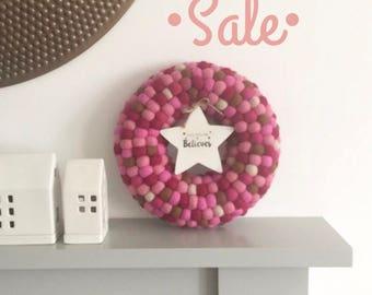 Pink Christmas Wreath, Door Wreath, Nordic Decor Holiday Decor, Christmas Decor, Modern Wreath, Pom Pom Wreath