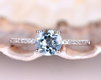 Aquamarine Engagement Ring Solid 14k White Gold Diamond Wedding Band 6.5mm Round Cut Natural Aquamarine Gem Stone Bridal Ring Promise Ring