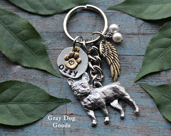 French Bulldog Memorial KeyChain, Pet Memorial KeyChain, Frenchie KeyChain, Dog Sympathy Gift, Read Full Listing Details