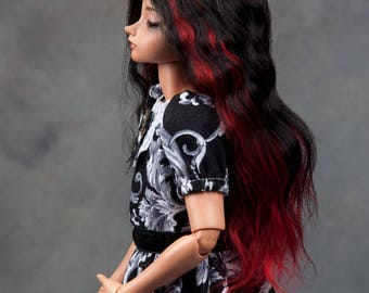 "READY TO SHIP! Gorgeous dual colour (black&red)  angora goat wig  for msd or other doll with 7-8"" head"