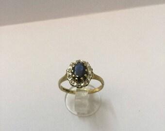 9ct Gold, Diamond & Sapphire Ring - Hallmarked - Size 5 (UK K)