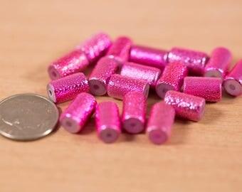 18 count 10mm vintage glass beads metallic pink magenta painted rondelle barrel shaped bead destash
