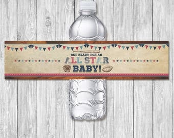 Vintage Sports Baby Shower Drink Label - Baby Shower Water Bottle Label - Sports Baby Shower - All Star Baby - Baseball Baby Shower Wrap