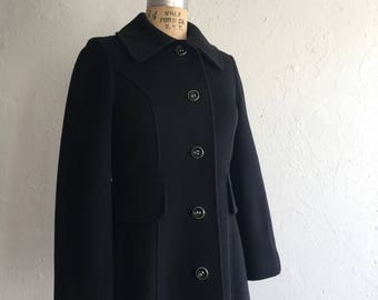 Classic black coat * Vintage 1960s 1970s custom tailored coat * 60s 70s wool coat