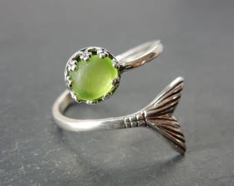 Lime Green Sea Glass Mermaid Ring - Real Seaglass in Sterling Silver Mermaid Tail Wrap Ring - Beach Glass Mermaid Jewelry