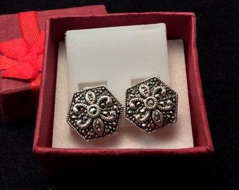 Vintage Judith Jack Sterling Silver Art Deco Marcasite Earrings, Judith Jack Marcasite Earrings