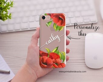 Custom Name iPhone case, Poppy Red Flower Watercolor,Clear Transparent Phone Case,  5/5s/SE, iPhone 6/6s, iPhone 6Plus/6sPlus, iPhone7/7plus