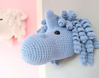 Blue wall hanging Unicorn taxidermy, Crochet mounted unicorn head faux taxidermy, Mounted unicorn head Plush, Unicorn Amigurumi Toy