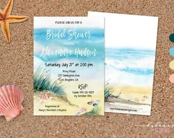 Tropical Beach Bridal Shower Invitation Sea Summer Bridal Invite Beige Shells Star Sand Spring Rustic Boho Bridal Shower Invitation - BS022