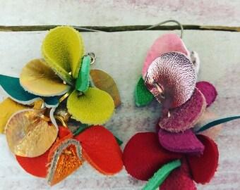 Flower Vine Leather Earrings (warm colors)