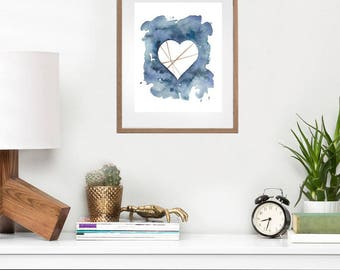 Instant Artwork Watercolor Heart Print, Heart Print, Minimal Art, Art Print, Wall Art Printable, Gift Idea under 20, Nursery Art Print