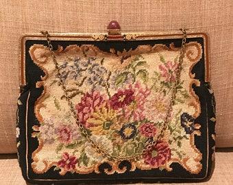 Antique Petit Point Purse, Floral Tapestry Purse, Needlepoint Purse, 1930's Petit Point Handbag. Gold Etched Frame