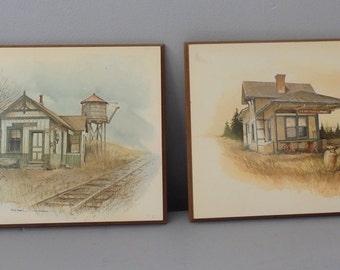 vintage Train Station pictures Railroad  RR Old Train Depot set wall hangings