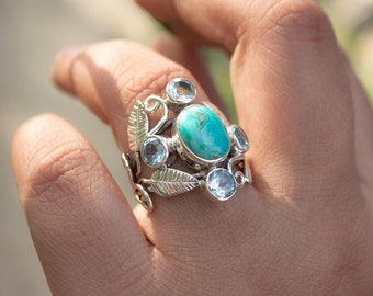 Turquoise Ring, Natural Turquoise Ring,Turquoise Sterling Silver Ring, Blue Topaz Ring, Turquoise Jewelry, December Birthstone, Healing Ring
