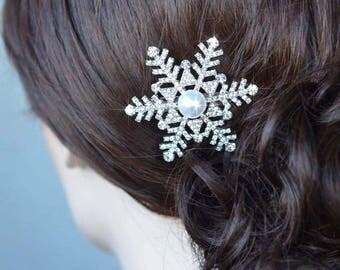 Choose Your Pearl Colour Handmade Vintage Inspired Crystal Rhinestone and Pearl Snowflake Hair Clip, Bridal, Wedding (Pearl-851)