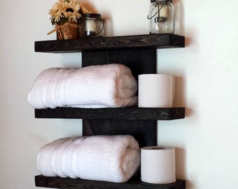 Wall Shelf, Three Tier Shelf, Rustic Floating Shelf, Towel Rack, Bathroom Shelf, Wood Shelf, Rustic Bath Shelf, Bathroom Storage, Dorm Decor