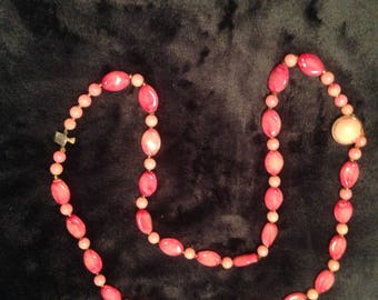 Vintage long pink beaded 1960's  Necklace and slotted clasp