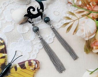Anniversary gift for wife Chain tassel earrings Long bridal earrings Grey labradorite jewelry Stud trendy earrings Gift for girlfriend