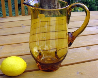 "Mid Century Modern Amber Glass Pitcher / BISCHOFF Art Glass Hand Blown Pitcher With Applied Handle / 9"" Tall / Pinch Pattern Glass Pitcher"