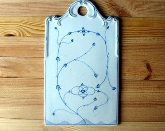 Antique Ironstone Cheese Board / Cutting Board / Art Nouveau / Hand Painted / Blue & White / Blue Onion / Indian Blue / Serving Board / Deco
