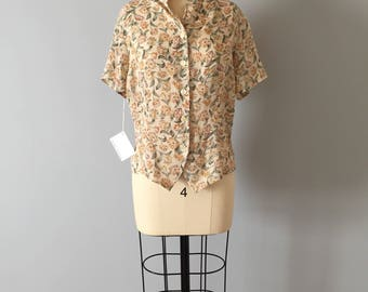 semi sheer nude crop top | flower print button front blouse