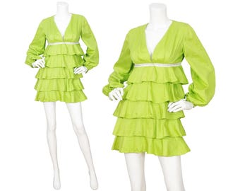 Young Edwardian 1960s Vintage Mod Lime Green Tiered Babydoll Dress Sz XS S