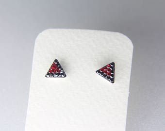 Sterling Silver Stud Earrings, Swarovsky Crystals, 7mm Side of Triangle, Black & Red Color, Unique BlingBling Korean Style Stud Earrings