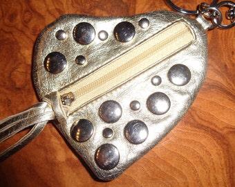 Cute Mini burse with keys hanger/90s/Gold leather/Original!