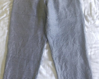 High Waisted Cropped Silk Gingham Pants