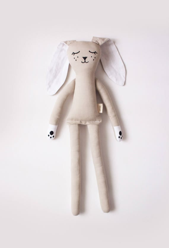 Warm Grey Bunny Rabbit soft toy for kids: handmade with eco-friendly materials