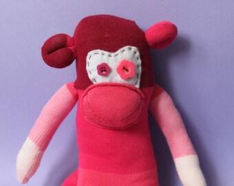 Harriot  the Sock Monkey |Handmade|Soft Toy| Birthday Gift|Stripy Socks|Stocking Stuffer| Stocking Filler|Spare socks|lost socks|Ombre Sock