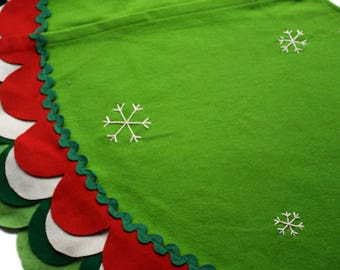 Layered Ruffle Green Holiday Tree Skirt