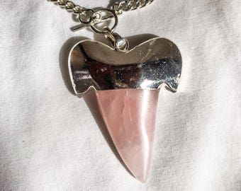 Rose Quartz Shark Tooth Necklace