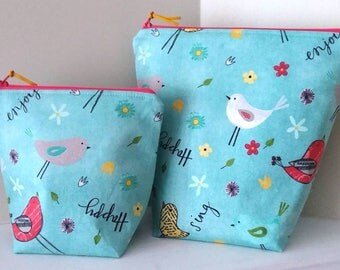 Birds and Flowers Bag and Matching Notion Pouch