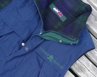 Amazing Tommy Hilfiger Vintage 90's vest double-sided medium plaid