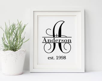 Monogram Wall Decor - Family Name Sign - Monogram Picture - Personalized Wedding Gift for Couple - Paper Anniversary Gift