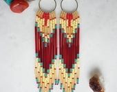 Tequila Sunrise. Handwoven Seed Bead Fringe Earrings.