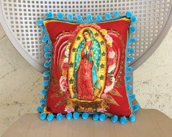 Virgin Mary pillow Guadalupe throw pillow Mexican vintage pillow our lady of Guadalupe pillow