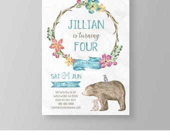 Birthday Invitation Template | Printable Girl Birthday Invite | Rustic, Boho, Wreath, Animal | Editable Template | Instant Download #028GBD