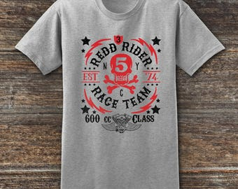 Biker T shirt Redd Rider Race Team  Motorcycle Gift, Motorcycle T-Shirt, Motorcycle Clothing, Cafe Racer Biker T-Shirt, Motorcycle Shirts