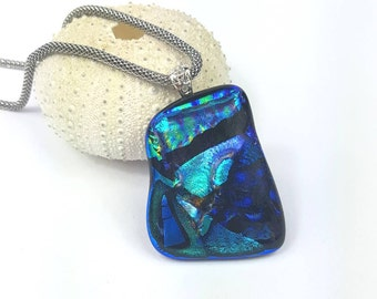 Blue Dichroic Glass Pendant. Dichroic fused glass pendant with stainless steel mesh necklace, Dichroic glass necklace by AMEArtistry2017