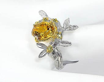 Citrine branch ring, Nature rings, birthday gift wife, Anniversary gift, yellow jewelry gift mom, November birthstone jewelry twig leaf ring